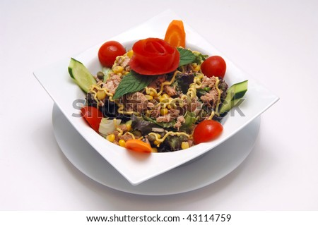salad serve with tuna fish at the plate