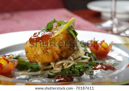 Salad served on a plate. Prepared by a professional chef. - stock photo