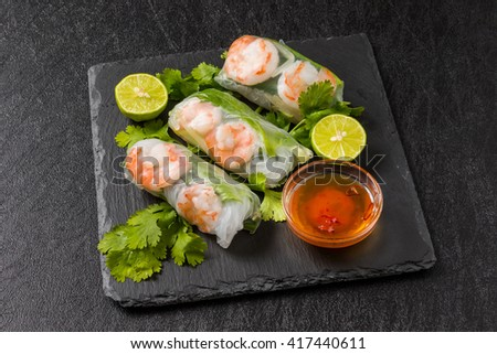Salad spring roll of Asian wind prawns - stock photo