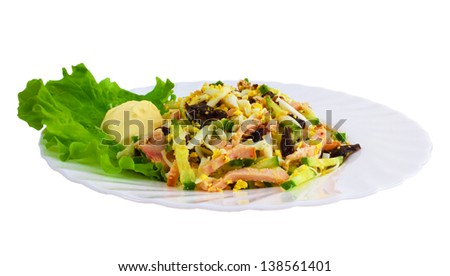 salad tasty sausage food plate isolated white background clipping path