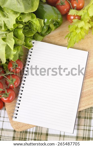 Salad vegetable, cookbook, copy space, vertical - stock photo