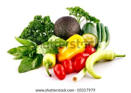 Salad Vegetables and Herbs - stock photo