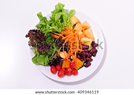 Salad Vegetables - Fruits, Clean Food on white Background - stock photo