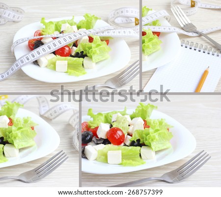 salad vegetables the concept of health fitness - stock photo
