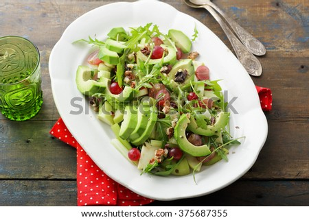 salad with avocado, food closeup