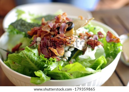 salad with bacon, cesar salad background - stock photo