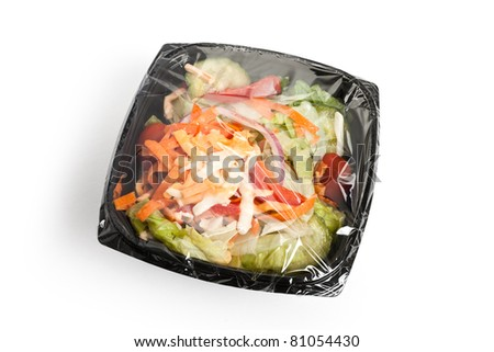 Salad with black box close up - stock photo