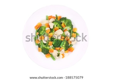 Salad with broccoli. Isolated on a white background. - stock photo