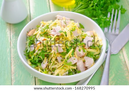 salad with chicken and cheese - stock photo