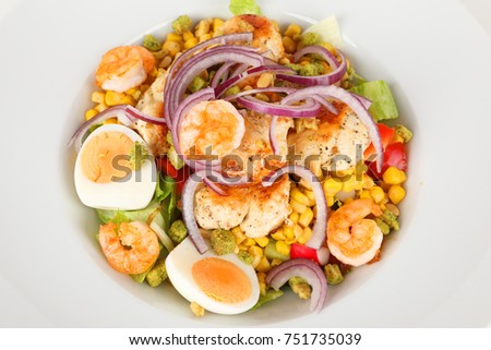 salad with chicken breast and shrimps