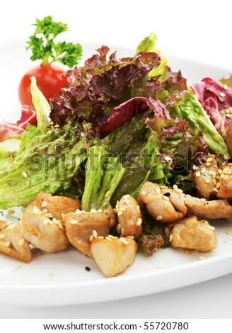 Salad with Chicken Fillet and Salad Leaf