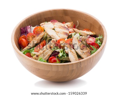 Salad with chicken isolated on white background     - stock photo