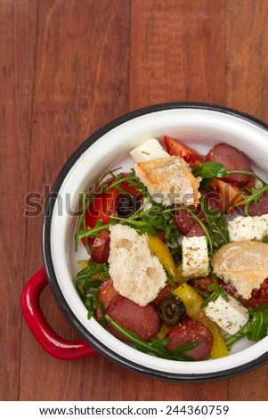 salad with chorizo - stock photo