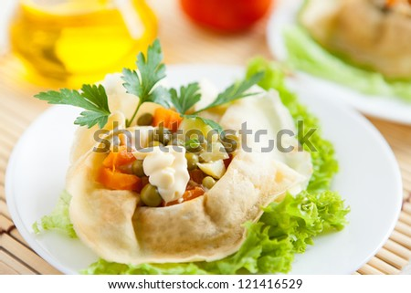 Salad with cooked vegetables wrapped in a pancakes on a plate. Fresh greens, lettuce and food ingredients - stock photo
