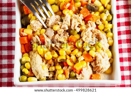 Salad with corn and tuna, horizontal image