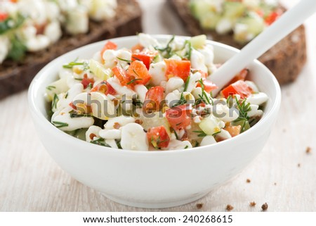 salad with cottage cheese and vegetables, close-up, horizontal - stock photo