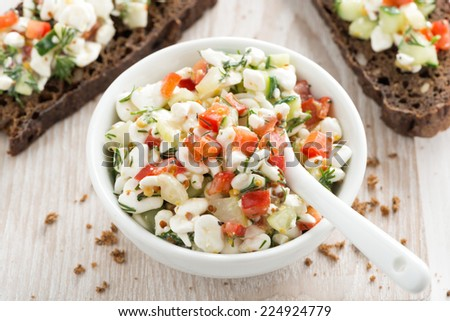 salad with cottage cheese and vegetables, top view, horizontal - stock photo
