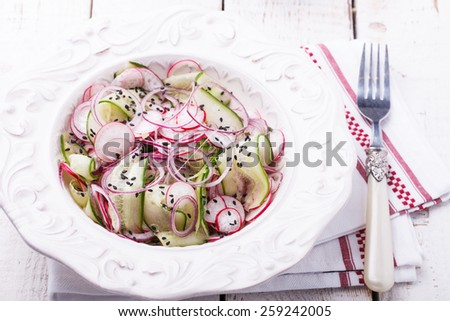 Salad with cucumber, radishes, red onion and black sesame seeds. - stock photo