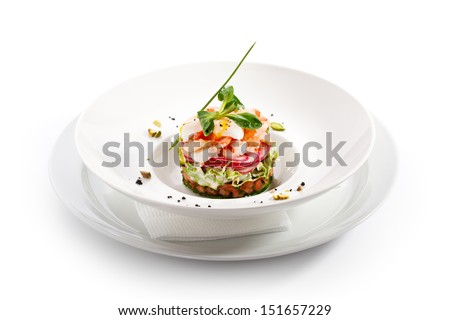 Salad with Cucumber, Tomatoes, Shrimps and Quail Eggs - stock photo