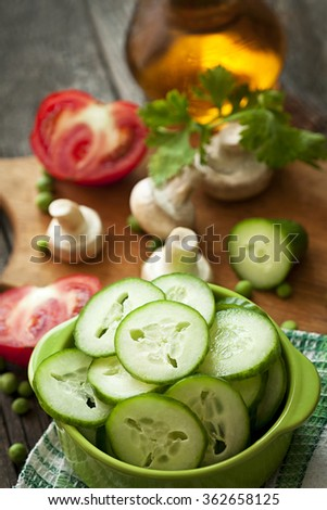 salad with cucumbers - stock photo