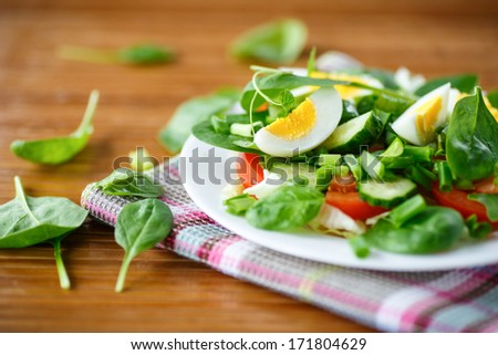 salad with eggs, tomatoes, cucumbers and greens - stock photo