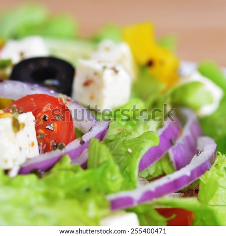 salad with feta cheese and fresh vegetables close up - stock photo
