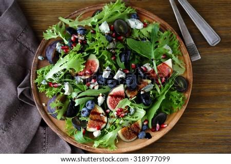 salad with figs, food closeup - stock photo
