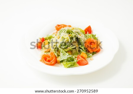 salad with fish on a white background