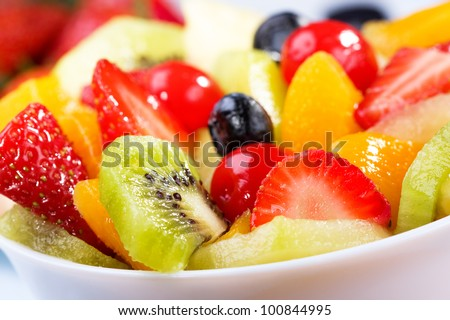 salad with fresh fruits and berries - stock photo