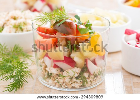 salad with fresh vegetables and cottage cheese in a glass, close-up, horizontal - stock photo
