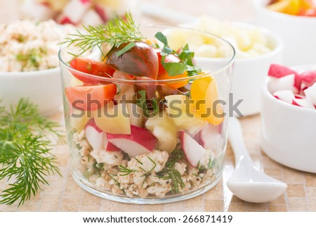 salad with fresh vegetables and cottage cheese in a glass, horizontal, close-up - stock photo