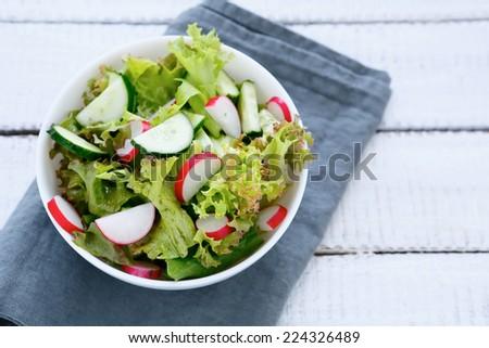 Salad with fresh vegetables, tasty food - stock photo