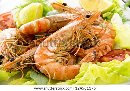 salad with fried gambas - stock photo