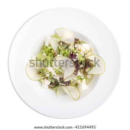 Salad with goat cheese and almond. Isolated on a white background. - stock photo
