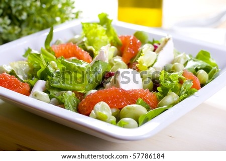 Salad with grapefruit and bean - stock photo