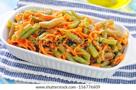 salad with green bean and carrot - stock photo