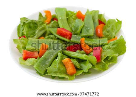 salad with green beans on the plate