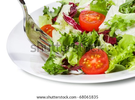 salad with greens and vegetables - stock photo
