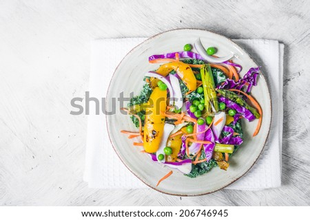 Salad with grilled vegetables - stock photo