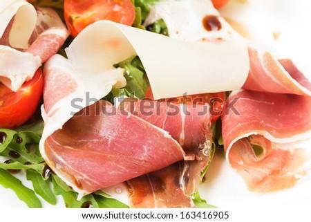 salad with ham - stock photo