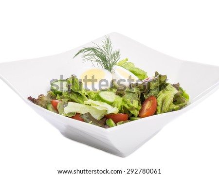 Salad with Hard-boiled Egg on Top - stock photo