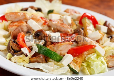 salad with meat - stock photo