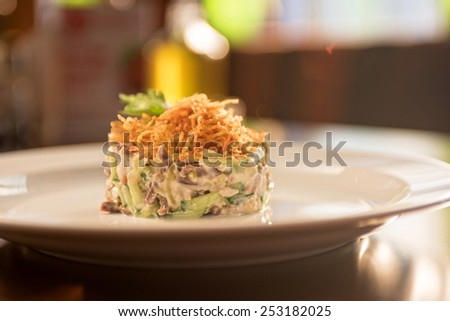 Salad with meat vegetable and mayonnaise - stock photo