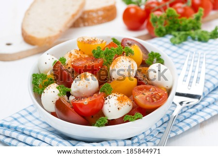 salad with mozzarella, fresh herbs and colorful cherry tomatoes, horizontal - stock photo