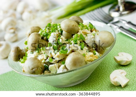 Salad with mushrooms and green onion, selective focus - stock photo
