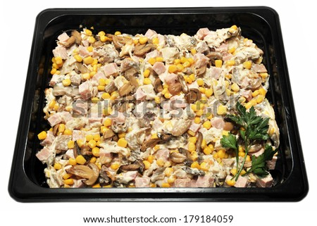salad with mushrooms, ham and corn
