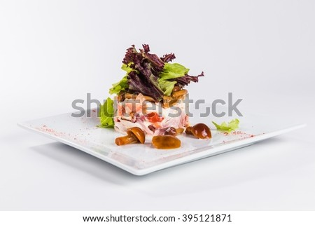 salad with mushrooms on a square plate on a white background - Horderves Plates