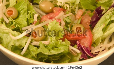 Salad with olives - stock photo