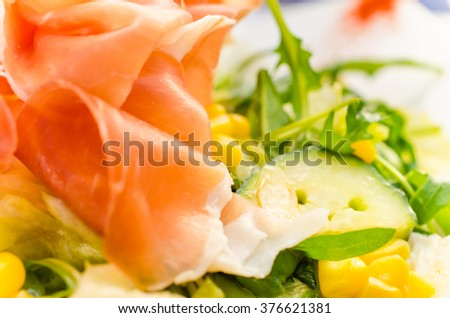 Salad with Prosciutto and vegetable - Close up