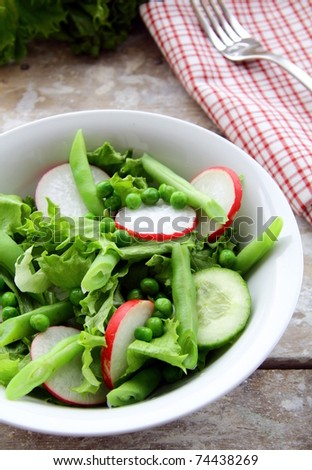 salad with radishes,cucumber,green peas - stock photo